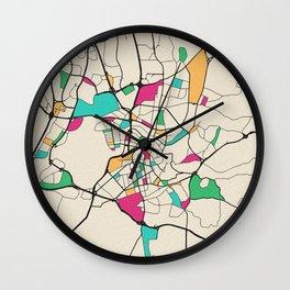 Colorful City Maps: Vilnius, Lithuania Wall Clock