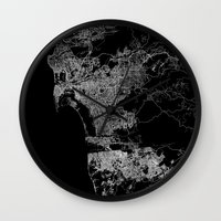 san diego Wall Clocks featuring san diego map by Line Line Lines