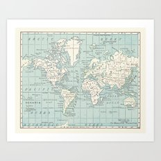 World Map in Blue and Cream Art Print