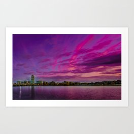 Sun dusk over Boston Art Print