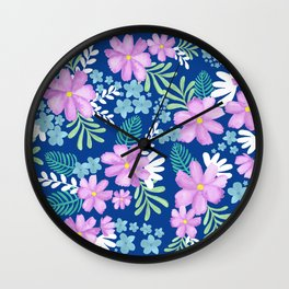 Watercolor flower bouquets- blue Wall Clock