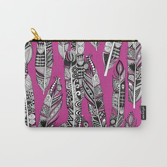 geo feathers hot pink Carry-All Pouch