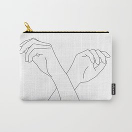 Crossed hands line drawing - Edie Carry-All Pouch