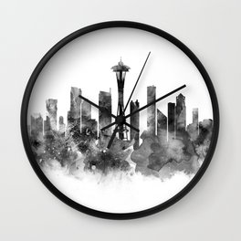 Seattle Black and White Wall Clock