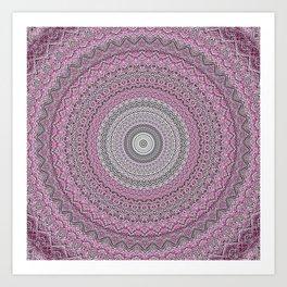 Bohemian Mauve Grey Mandala Art Print