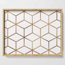 White and Gold - Geometric Cube Design Serving Tray
