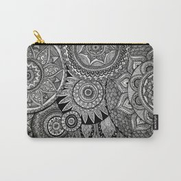 Black Graphic Mandala Pattern Carry-All Pouch
