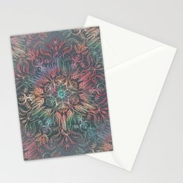 Winter Sunset Mandala in Charcoal, Mint and Melon Stationery Cards