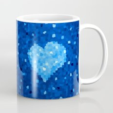 Winter Blue Crystallized Abstract Heart Mug