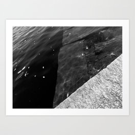 Submerged Blocks - B&W Art Print