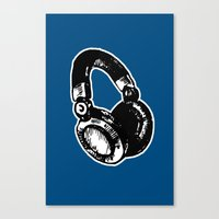 headphones Canvas Prints featuring Headphones by Fig and Berry Clothing