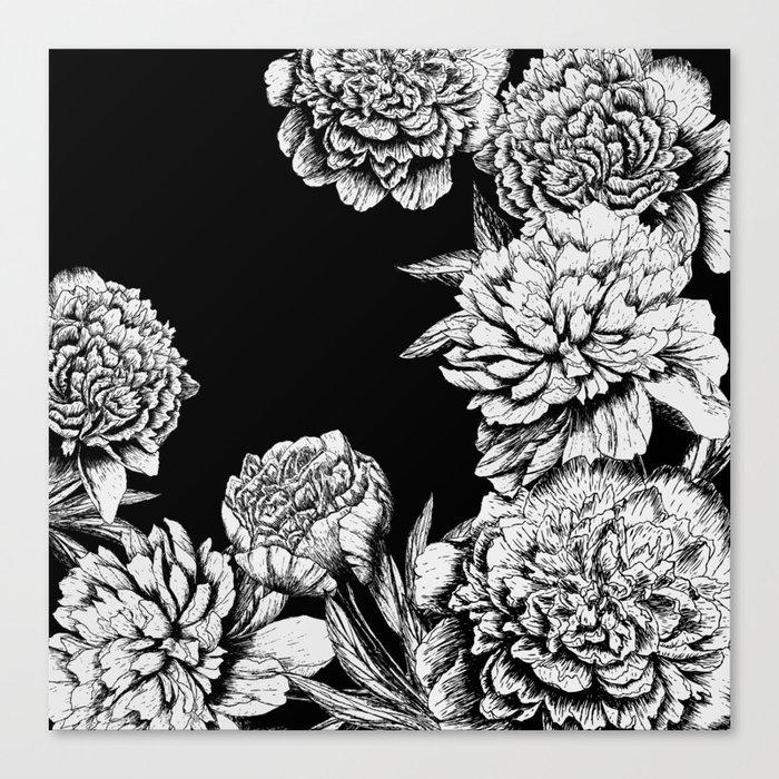 FLOWERS IN BLACK AND WHITE Leinwanddruck