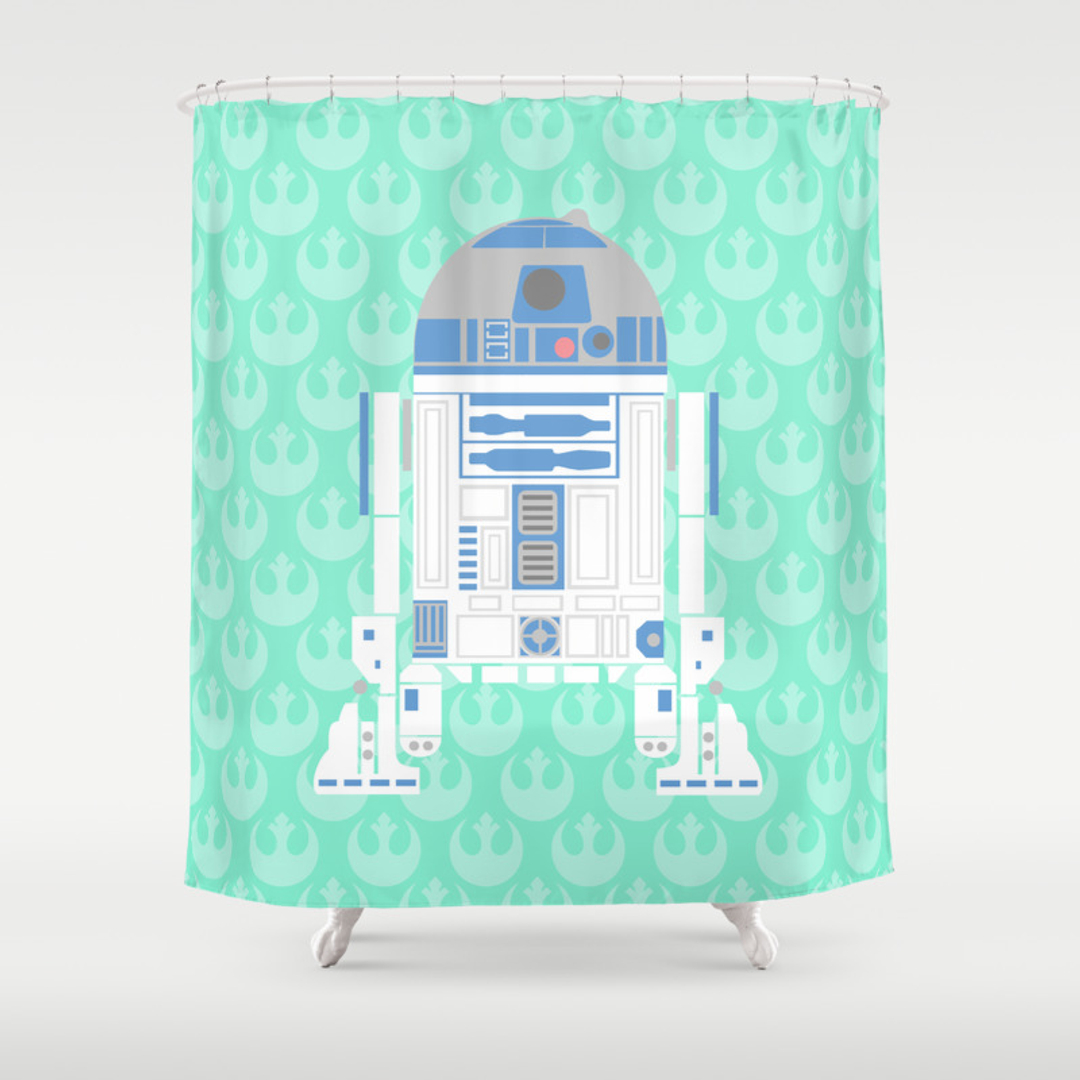 Droid Jedi And Kso Shower Curtains Society - Mint green shower curtain