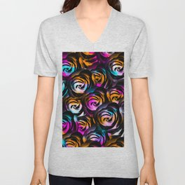 black rose texture abstract with painting abstract in orange pink blue Unisex V-Neck