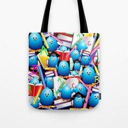 Back to School Cute Blue Birds Tote Bag
