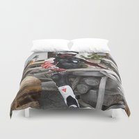 motorbike Duvet Covers featuring On the Motorbike trough AUSTRIA 05 Fun by MehrFarbeimLeben