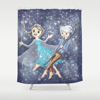 jack frost Shower Curtains featuring Jack Frost and Elsa by Mayying