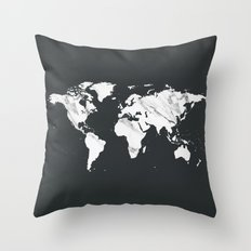 Marble World Map in Black and White Throw Pillow