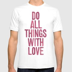 Do All Things With Love MEDIUM White Mens Fitted Tee