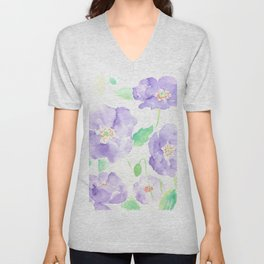 Watercolor Blue Poppy Flowers Unisex V-Neck