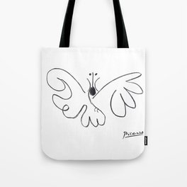 Pablo Picasso Butterfly Artwork T Shirt, Reproduction Sketch Tote Bag