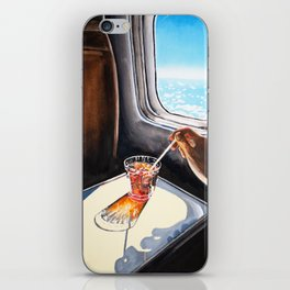 Glass in Airplane | Retro Mid Century | Mad Men Painting iPhone Skin