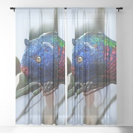 Fantastic creatures: colorful rodent Sheer Curtain