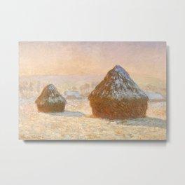 Wheatstacks, Snow Effect, Morning by Claude Monet Metal Print