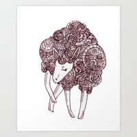 sheep Art Prints featuring Sheep by Monique Turchan