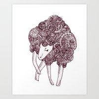 sheep Art Prints featuring Sheep by Monique Turchan