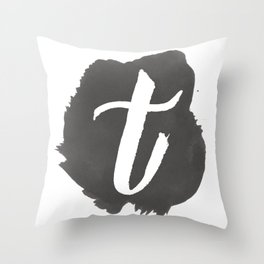 """T"" Monogram, Watercolor Design  Throw Pillow"