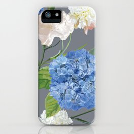Blue Hydrangea on Gray iPhone Case