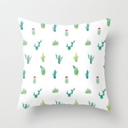 Summer pattern with cacti and yellow cats ! Throw Pillow