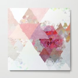 Pink white rosegold triangle pattern Metal Print