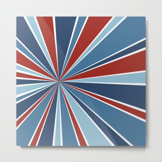 Star Burst Red White and Blue Metal Print