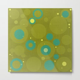 """Retro Dots Colorful"" (Olive & Teal) Metal Print"