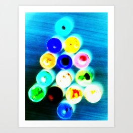 Colorful Christmas Tree shaped watercolors tubes Art Print
