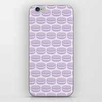 macaroon iPhone & iPod Skins featuring Purple Macaroon Pattern - Lavender Macaron by French Macaron Art Print and Decor Store