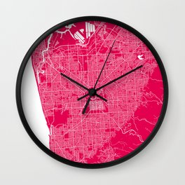 Adelaide map rapsberry Wall Clock
