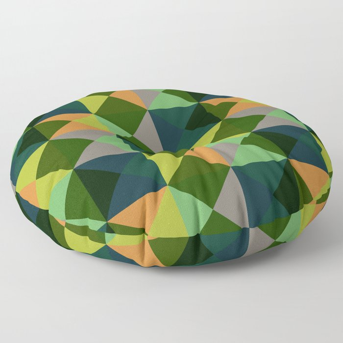 Oiwa - Colorful Green Decorative Abstract Art Pattern Floor Pillow