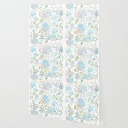 blue and purple flowers pattern watercolor  Wallpaper
