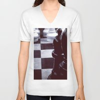 chess V-neck T-shirts featuring Chess Perspective by Thick Paint Works