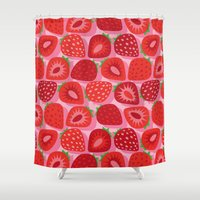 strawberry Shower Curtains featuring Strawberry by Helene Michau