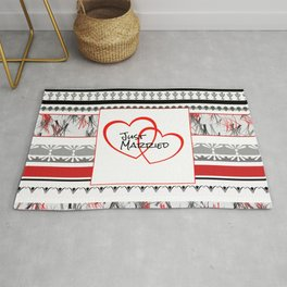 just Married Hearts white pattern II Rug