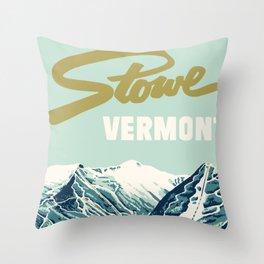 2021 Ski Stowe Vermont Vintage Poster  Throw Pillow