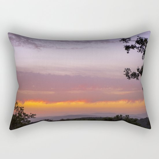 Sunset at the mountains IV. Misty forest Rectangular Pillow