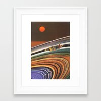 rowing Framed Art Prints featuring Rowing Through the Cosmos by Holly Pilot