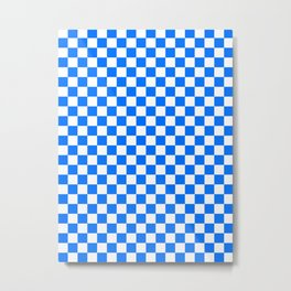 White and Brandeis Blue Checkerboard Metal Print