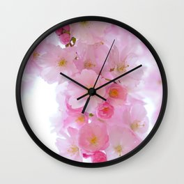 Botanical blush pink white cherry blossom floral Wall Clock