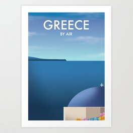 Greece By Air Vacation poster. Art Print